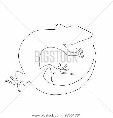 Beautiful  Monochrome Lizard, Lizard Silhouette. Vector
