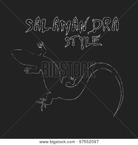 Beautiful  Monochrome Lizard, Lizard Silhouette. Vector Illustra