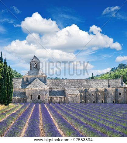 Beautiful Landscape With Medieval Castle And Cloudy Blue Sky