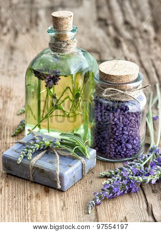 Lavender Essential Oil, Herbal Soap And Bath Salt With Fresh Flowers
