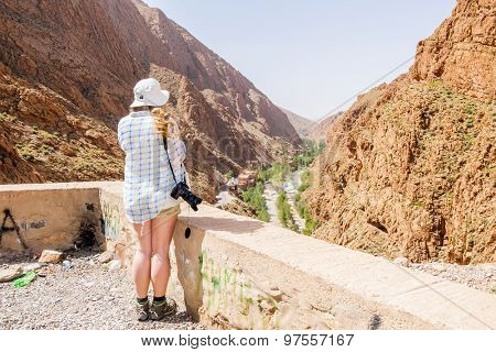 Female tourist admiring view in Dades Gorges, Morocco