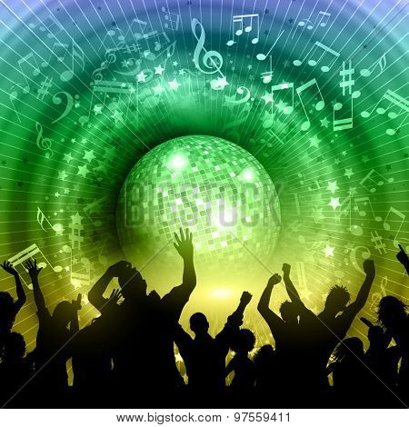 Silhouette of a party crowd on an abstract mirror ball background with music notes and rainbow colours