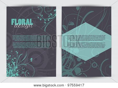 Flyer template with a double sided floral design