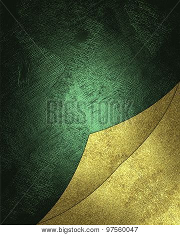 Grunge Green Texture With Gold Ornaments For A Site Area. Element For Design. Template For Design.