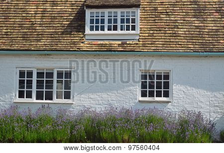 White cottage with red roof tiles and lavender.