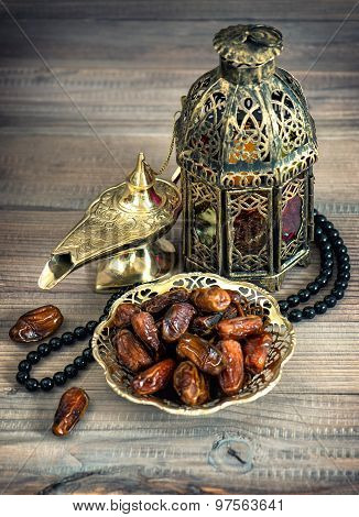 Dates, Arabic Lamps And Rosary. Islamic Holidays Concept. Vintage Style