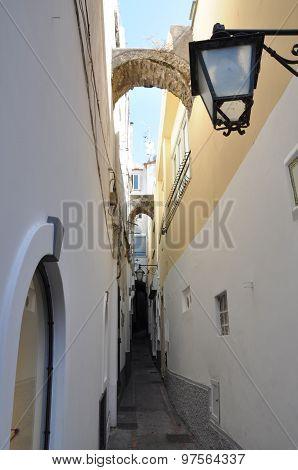 White narrow street of Capri Italy