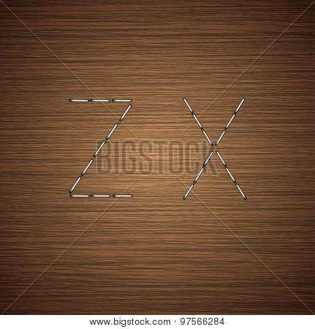Vector modern staples alphabet on wooden