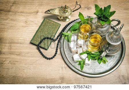 Mint Tea, Delight, Arabian Lantern, Holy Book Quran And Rosary. Islamic Holidays