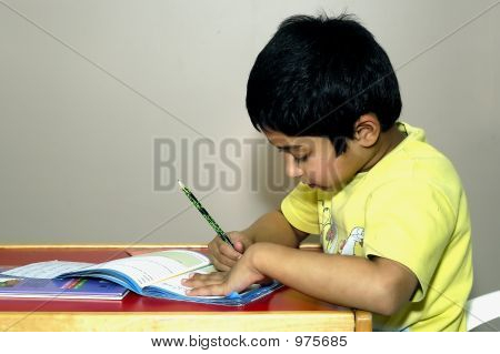 Kindergarden Kid Doing His Homework