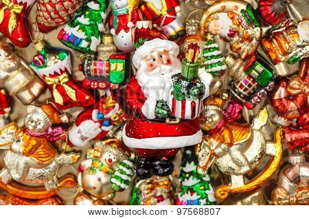 Santa Claus With Christmas Tree Decorations Baubles, Toys And Ornaments