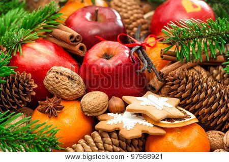 Christmas Food Background. Apple And Mandarin Fruits, Walnuts, Cookies