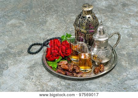 Tea And Red Rose Flower, Arabian Lantern And Rosary. Islamic Holidays