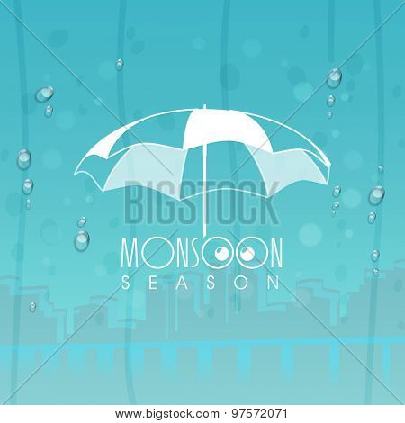 Stylish umbrella on urban city background, can be used as poster, banner or flyer design.