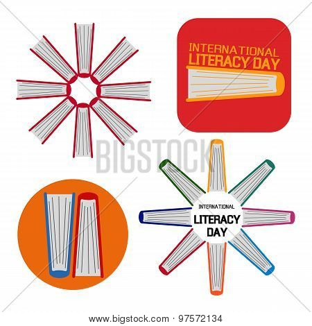 Set Of A Book For International Literacy Day