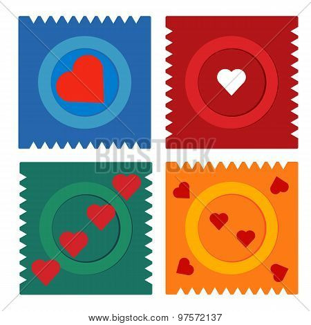 Contraception Day Condom Flat Set Icon In Packing With Hearts