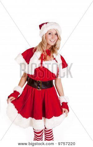 Santas Helper Standing Holding Skirt