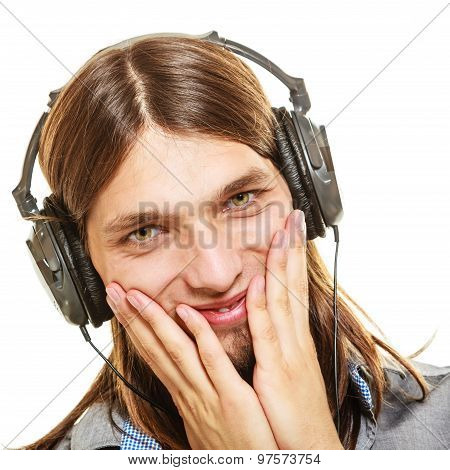 Man With Headphones Listening To Music. Leisure.