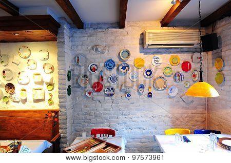 Simple Greek Restaurant Interior