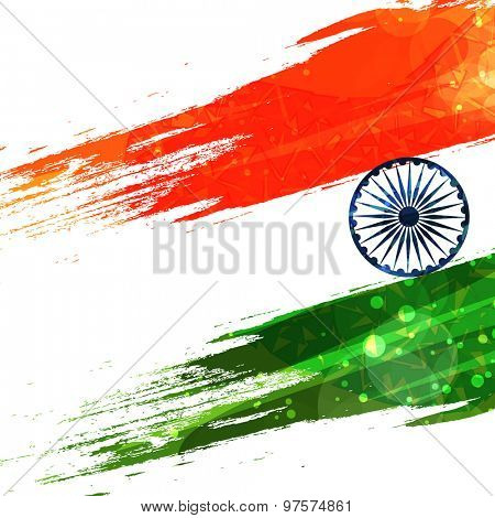 Creative national flag color design on shiny background for Indian Independence Day celebration.