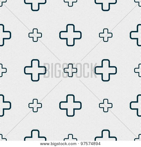 Plus Icon Sign. Seamless Pattern With Geometric Texture. Vector