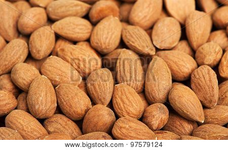 Peeled almonds closeup