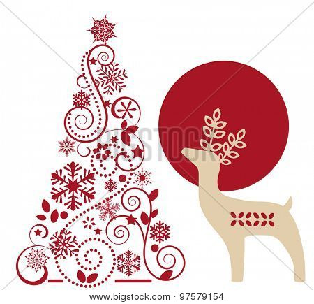 Christmas tree and reindeer