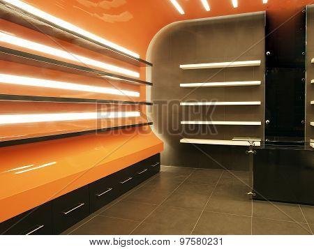 Modern Office Shelves on Sleek Orange Surface