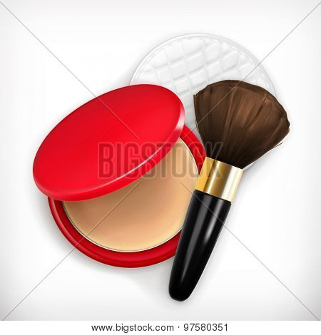 Face powder and brush for make up, vector icon