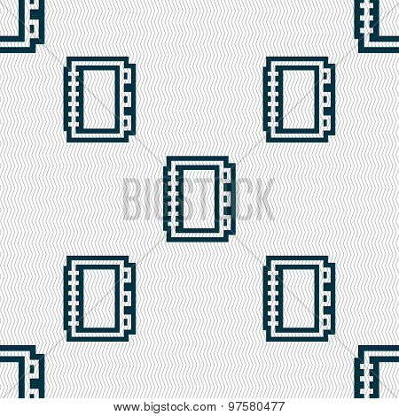 Book Icon Sign. Seamless Pattern With Geometric Texture. Vector