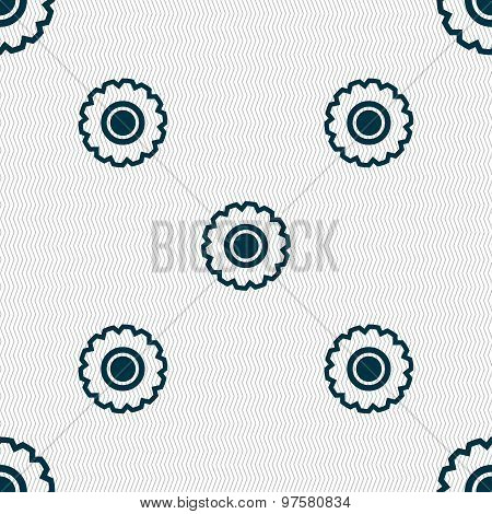 Cogwheel Icon Sign. Seamless Pattern With Geometric Texture. Vector