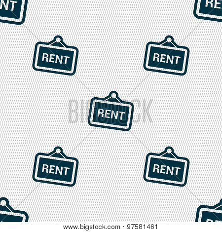 Rent Icon Sign. Seamless Pattern With Geometric Texture. Vector