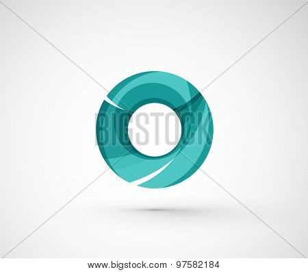 Abstract geometric company logo ring, circle.  illustration of universal shape concept made of various wave overlapping elements