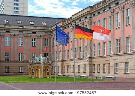 The flags of European Union, Germany and Branderburg