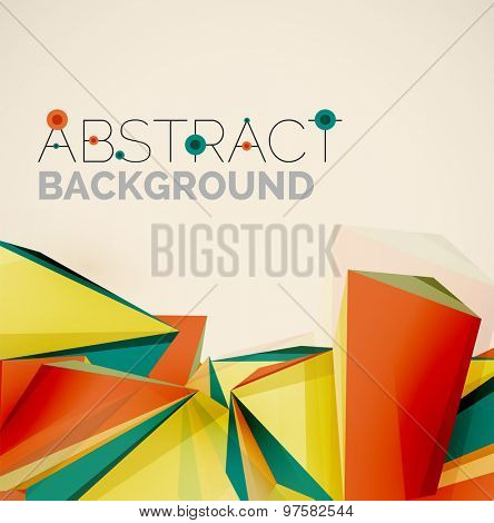 3d geometric shapes in the air.  abstract background. Business futuristic presentation layout or web interface or app cover. Universal composition