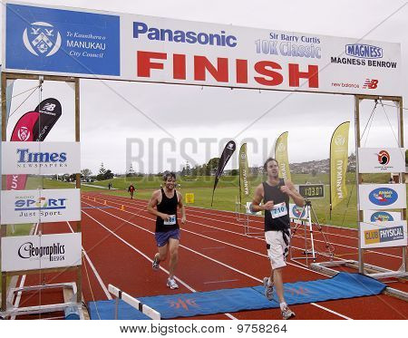 Marathon runner running finish