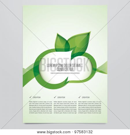 vector eco brochure flyer template modern green leaf environment design poster