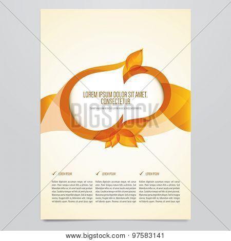 Vector autumn brochure, flyer template. Modern orange leaves design.