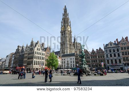 Antwerp, Belgium - May 10, 2015: Tourist Visit The Grand Place In Antwerp, Belgium.