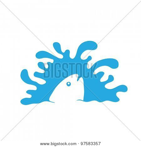 fish in water, vector logo illustration