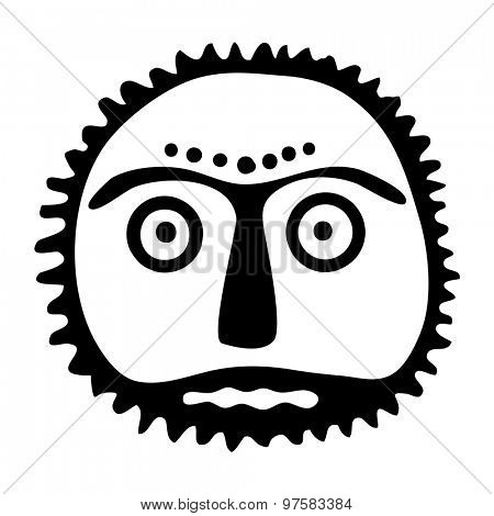 sun symbol, face in native style, tattoo illustration