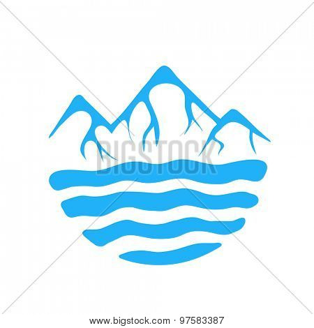 Mountain and sea or river, vector logo illustration