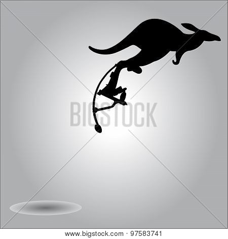 Illustration Vector Silhouette Kangaroo Jumping With Stilts