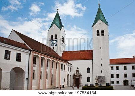 FREISING, GERMANY - JULY 8, 2011: Freising famous cathedrale dome  Mariendom in Bavaria