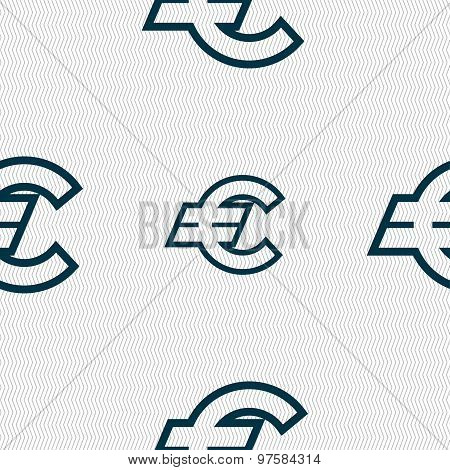 Euro Eur Icon Sign. Seamless Pattern With Geometric Texture. Vector