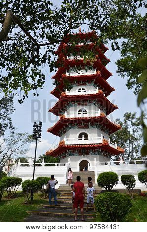 Tourists Visit The Big Pagoda In The Chinese Garden, Singapore