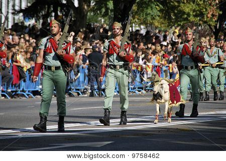Spanish Legionarios Marching With Their Pet