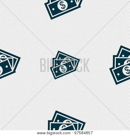 U.s Dollar Icon Sign. Seamless Pattern With Geometric Texture. Vector