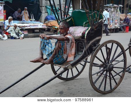 Rickshaw Driver Working In Kolkata, India