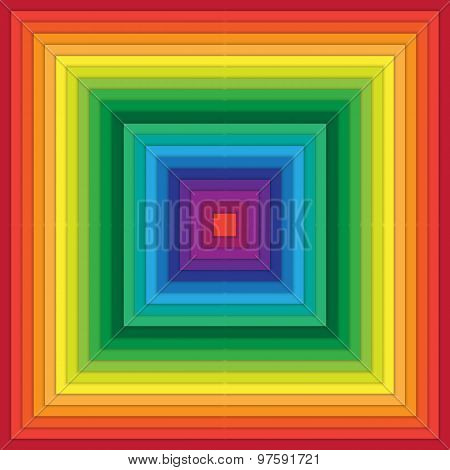 Multicolored Abstract Squares Within Square
